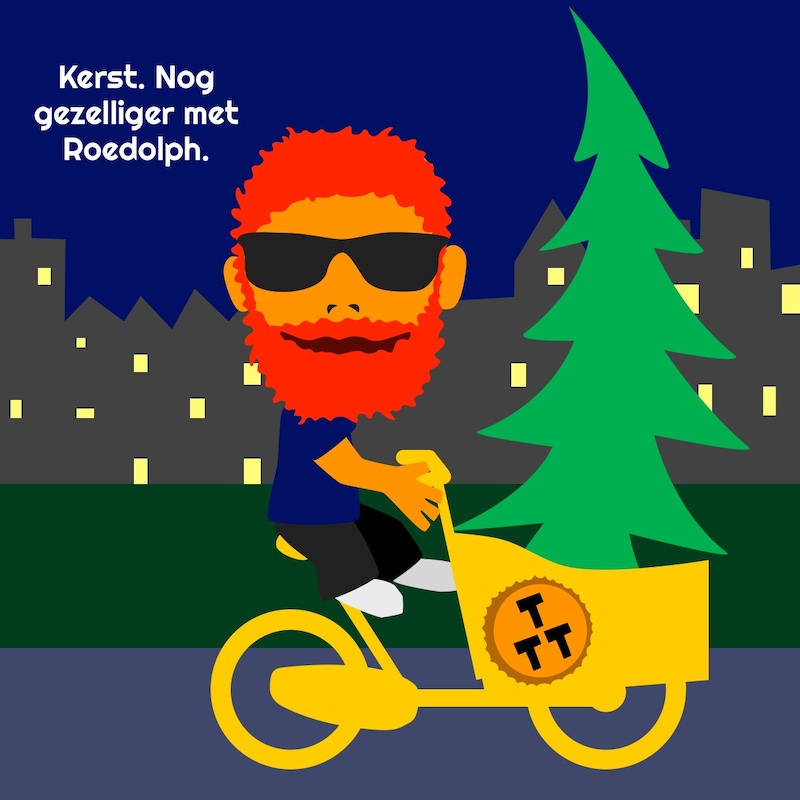 kerstboom in bakfiets